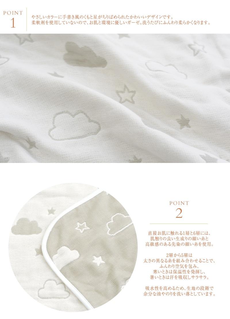 I LOVE BABY(アイラブベビー) 6重ガーゼブランケット クラウド
