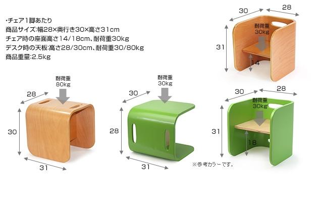 HOPPL ホップル コロコロチェア&デスク 3点セット(デスク×1、チェア×2) CL-3set-NA