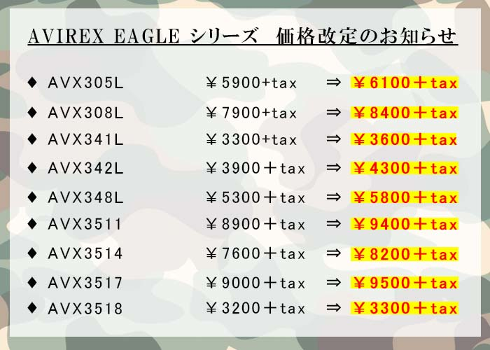 AVIREX価格改定お知らせ