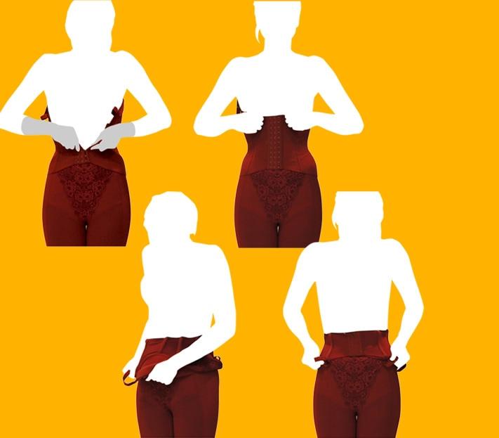 ロングブラジャーはまずは身体の前でフックを留めてからご着用いただきます。