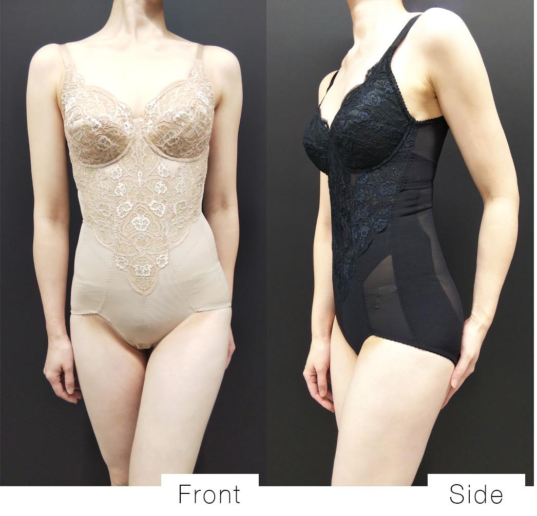 ボディスーツ着用画像。サイドは美しいボディバランスへ導くこだわりの二重構造のパワーネット