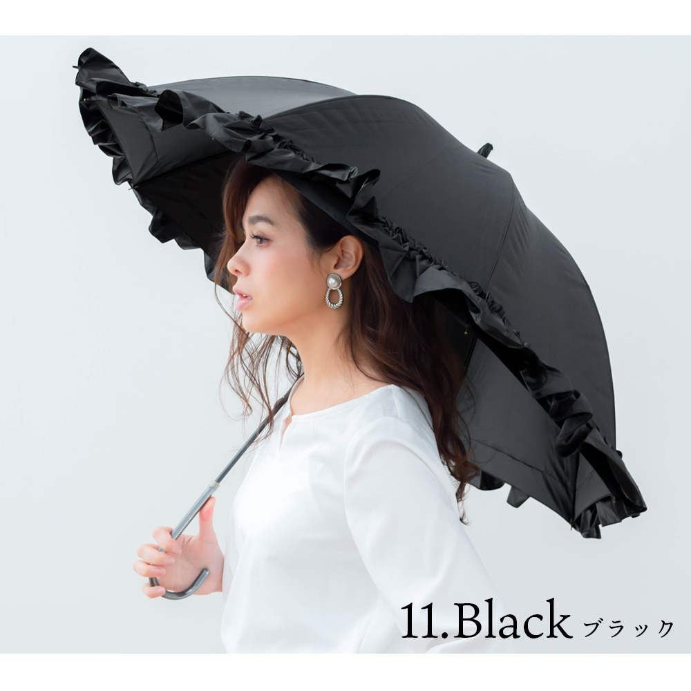 100%完全遮光 日傘/雨傘 超撥水 リボン付BIGフリル ショート傘 makez.マケズ