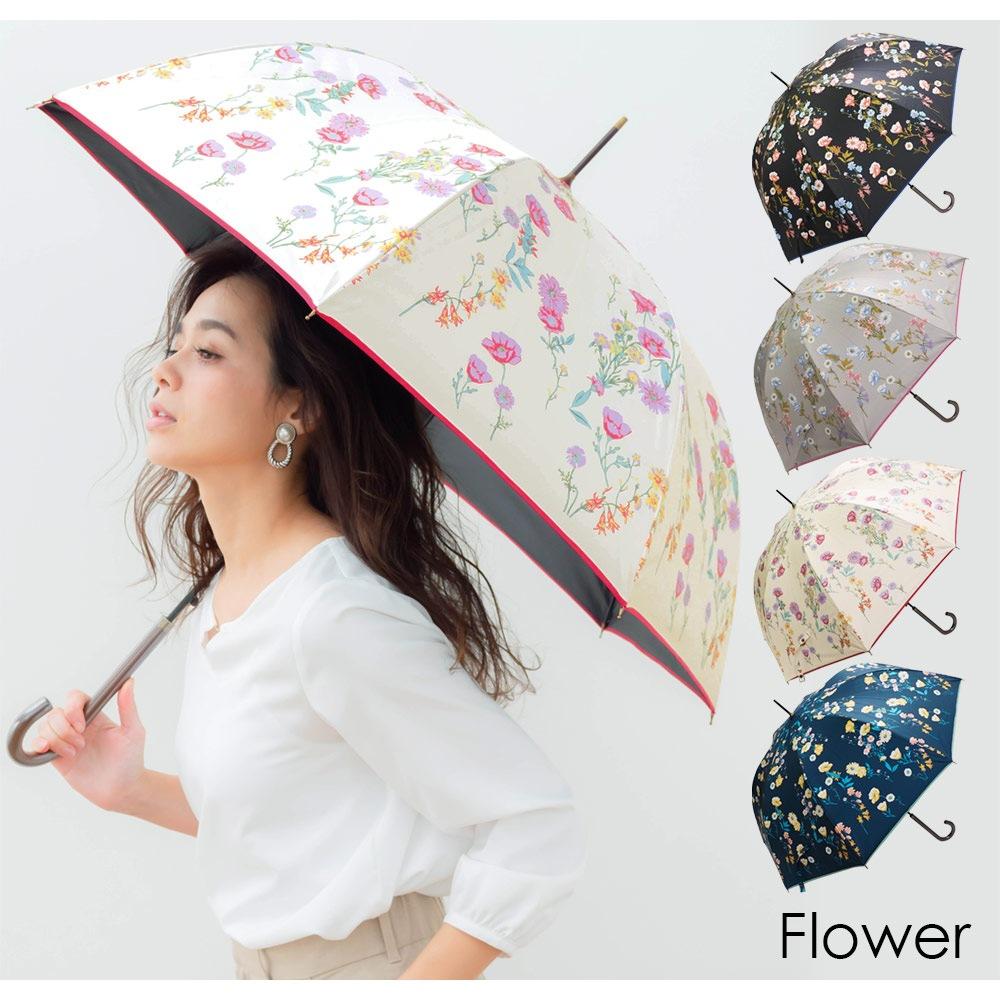 100%完全遮光 超撥水 ブラックコーティング晴雨兼用ジャンプ傘A レース柄 バロック柄 カラフル小花柄