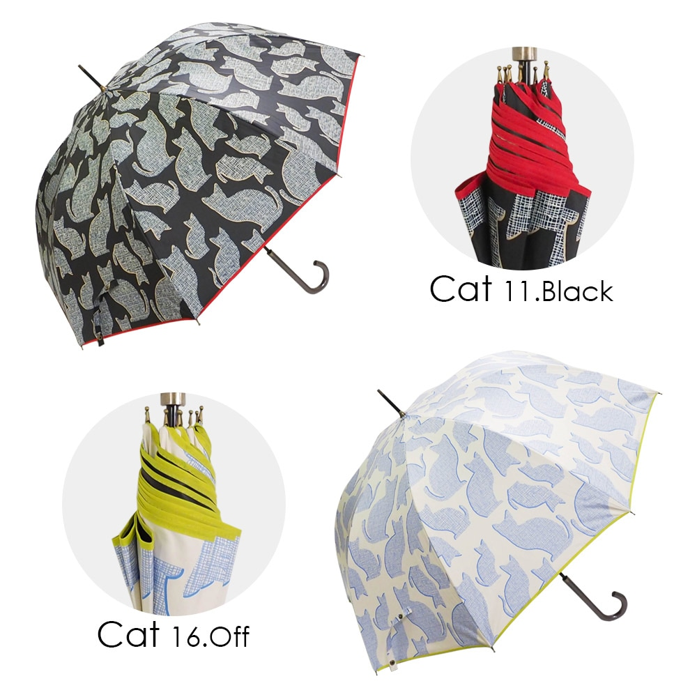 100%完全遮光 超撥水 ブラックコーティング晴雨兼用ジャンプ傘C シンプルドット柄 ネコ柄 バード柄