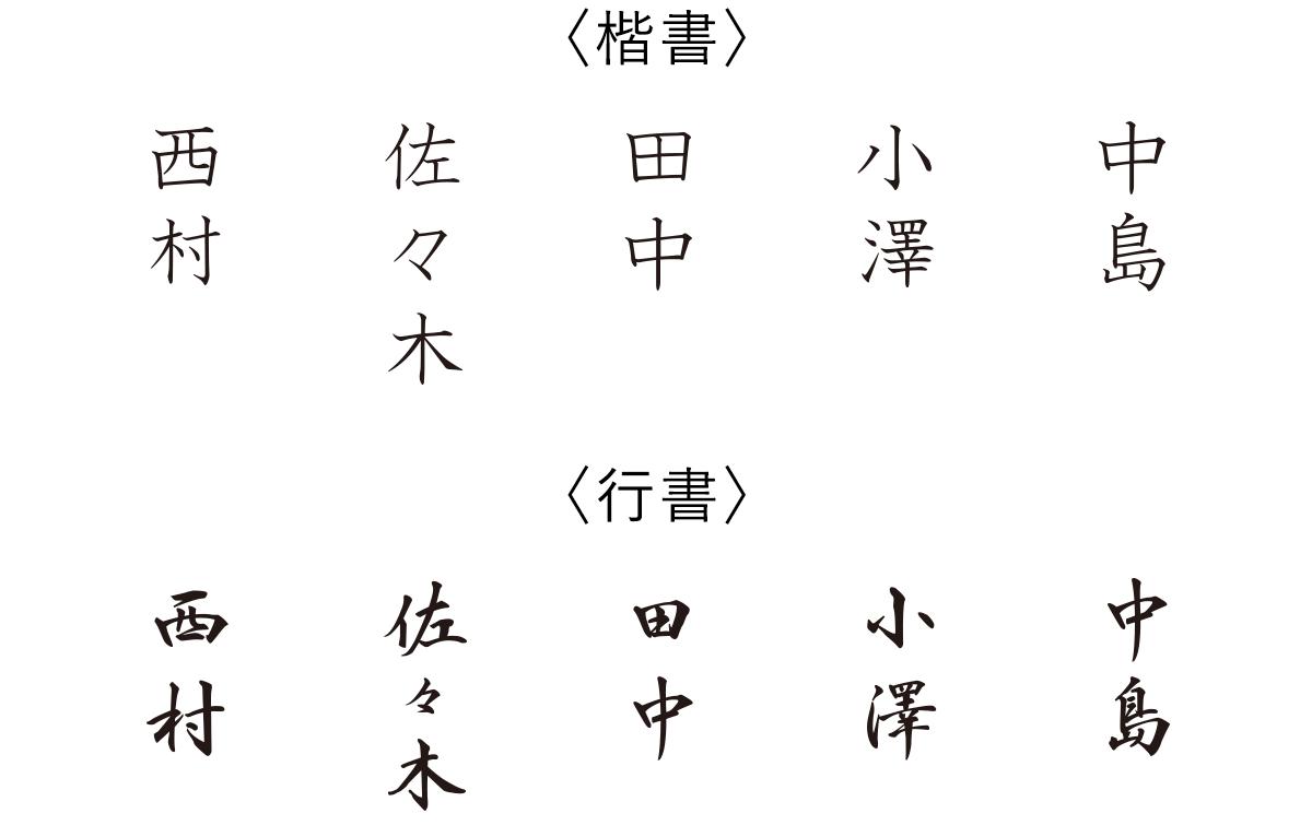 お名入れ書体の書体例 漢字