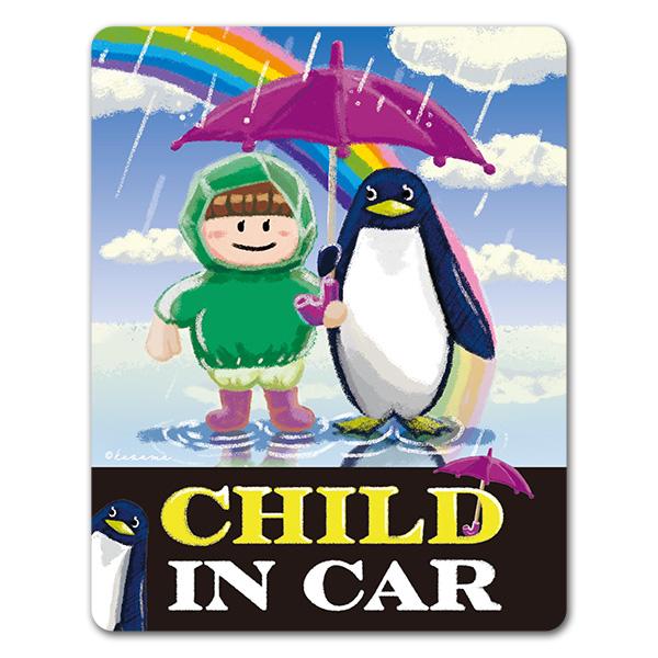 ペンギンと子供 雨上がり【CHILD IN CAR】車マグネットステッカー