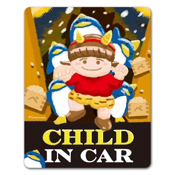 ペンギンと子供 節分 豆まき【CHILD IN CAR】車マグネットステッカー