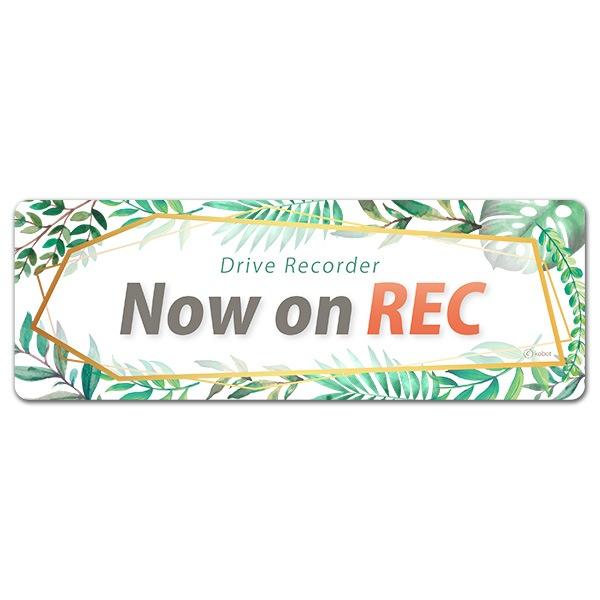 ドライブレコーダー ボタニカル Drive Recorder【Now on REC】スリム型車マグネットステッカー