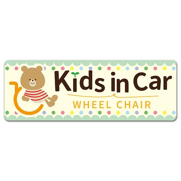 車イスとクマ【Kids in Car WHEEL CHAIR】スリム型車マグネットステッカー