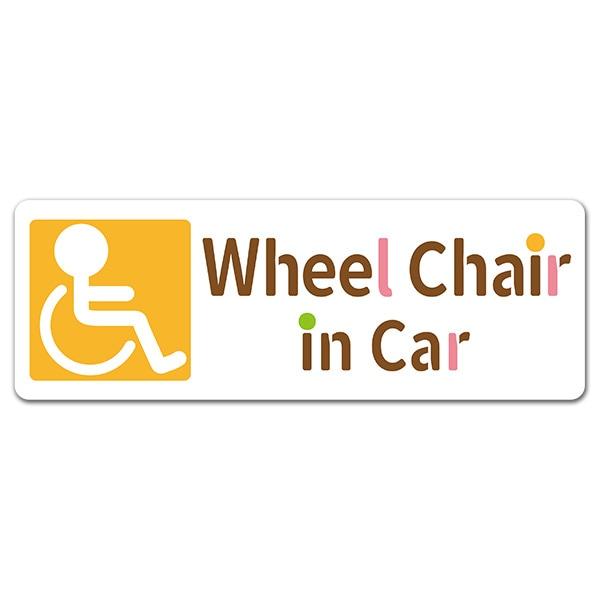 車イス ピクトグラム風イラスト【Wheel Chair in Car】スリム型車マグネットステッカー