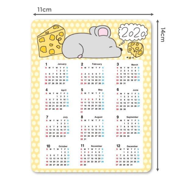 2020年マグネットカレンダー 干支子年デザイン イノシシ 丸型15cm