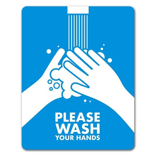 サインマグネットステッカー 手を洗おう【PLEASE WASH YOUR HANDS】玄関ドアお知らせマグネット