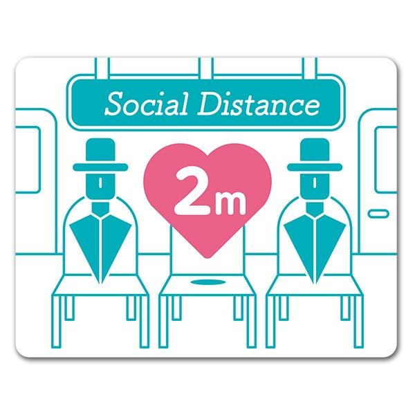 サインマグネットステッカー ソーシャルディスタンス【social distance】2m 室内 玄関ドアお知らせマグネット