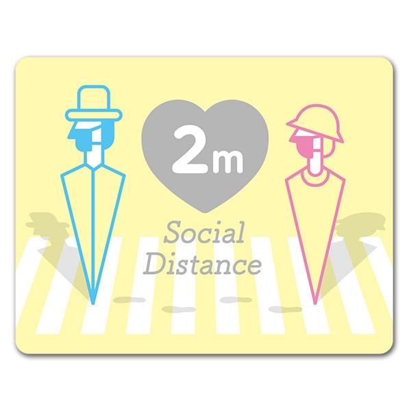サインマグネットステッカー ソーシャルディスタンス【social distance】2m 屋外 玄関ドアお知らせマグネット