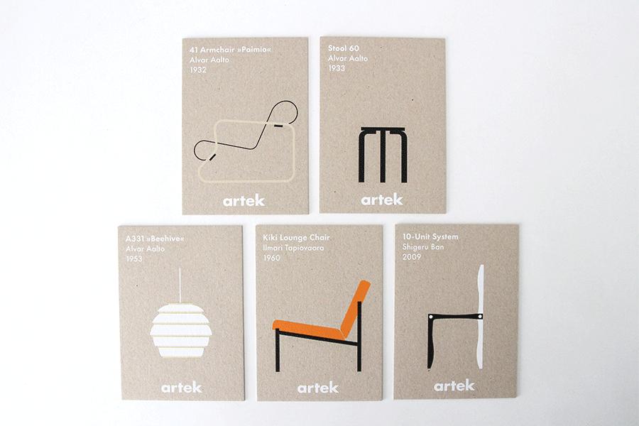 アイコンポストカード5枚セット alvar aalto(アルヴァアアルト)/artek(アルテック)