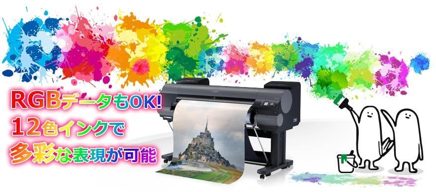 RGBデータもOK! 12色インクで多彩な表現が可能