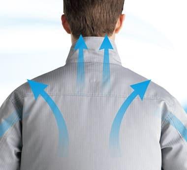 調整ヒモで首筋にはさらに快適な風量調節を!
