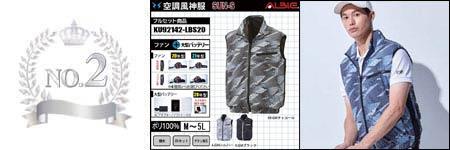 空調服『UVカット(日焼け軽減)』部門ランキング:NO.2