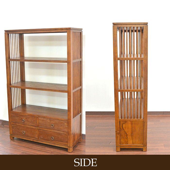 チーク家具,古材 古木,アジアン,無垢の家具,ラック,本棚,棚,シェルフ,収納