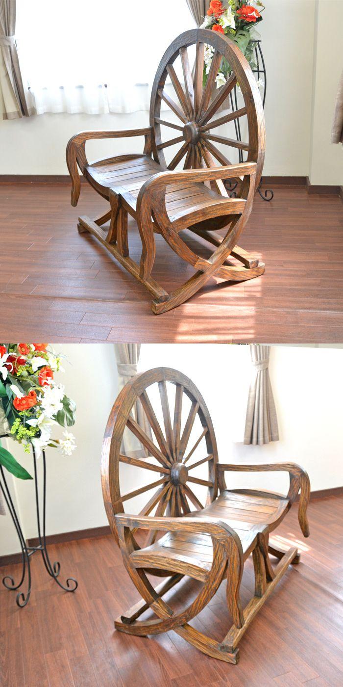 アジアン家具 ベンチ 車輪ベンチ 椅子 オブジェ 花台 置物