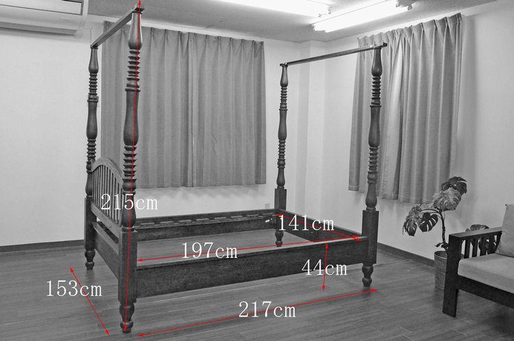 アジアン家具,バリ家具 ベッド,天蓋ベッド,古木のベッド,リゾートホテル ベッド