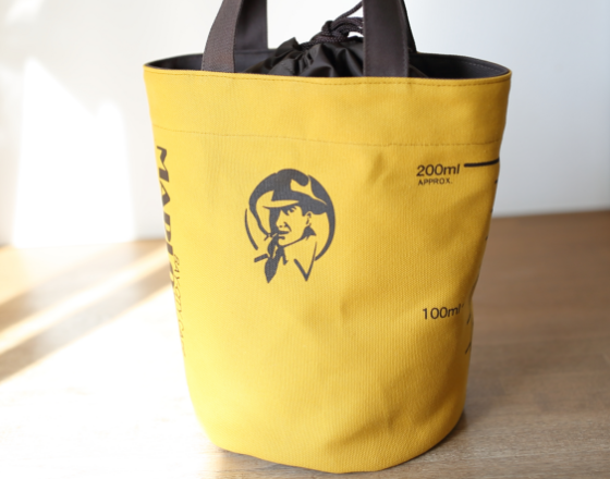 巾着ビーカー型トートバッグ(マスタード&ブラウン)