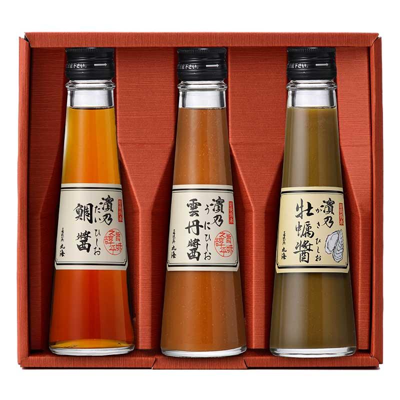 ひしお小瓶セット(鯛・雲丹・牡蠣)