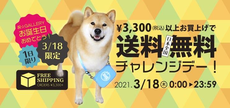 【1日限り】★3/18限定★3,300円(税込)以上お買上げで送料無料!