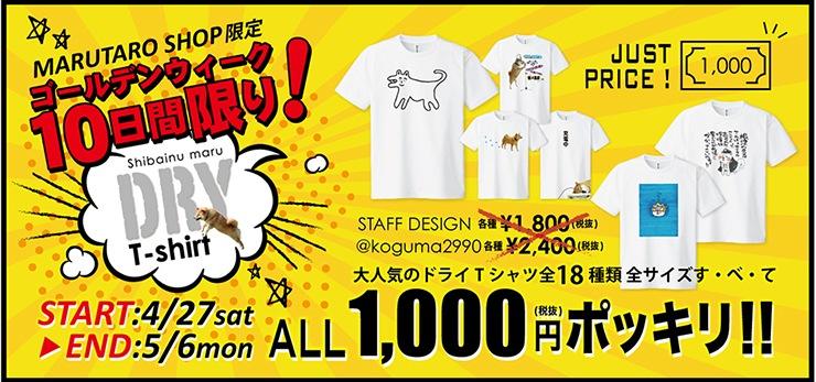 ドライTシャツ 1,000円ポッキリ!