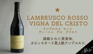 ランブルスコ ロッソ ヴィーニャ デル クリスト…凝縮された果実味。カビッキオーリ最上級ランブルスコ。