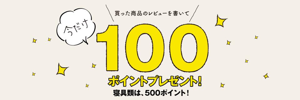 レビューを書いて100ポイント(寝具は500ポイント)プレゼント!キャンペーン開催