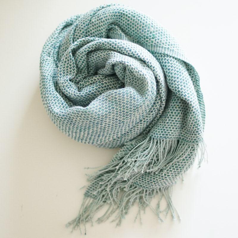 オーガニックコットン手つむぎストール|UVカットショール ななこ織り ブルー