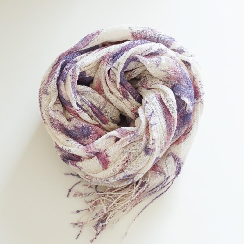オーガニックコットン手つむぎストール|大花柄ストール 紫
