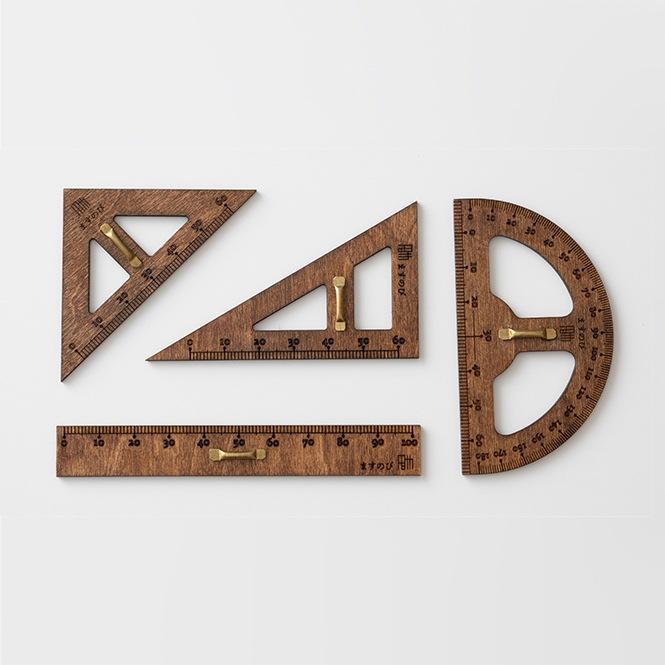 教授用木製定規セット(ミニ) brown