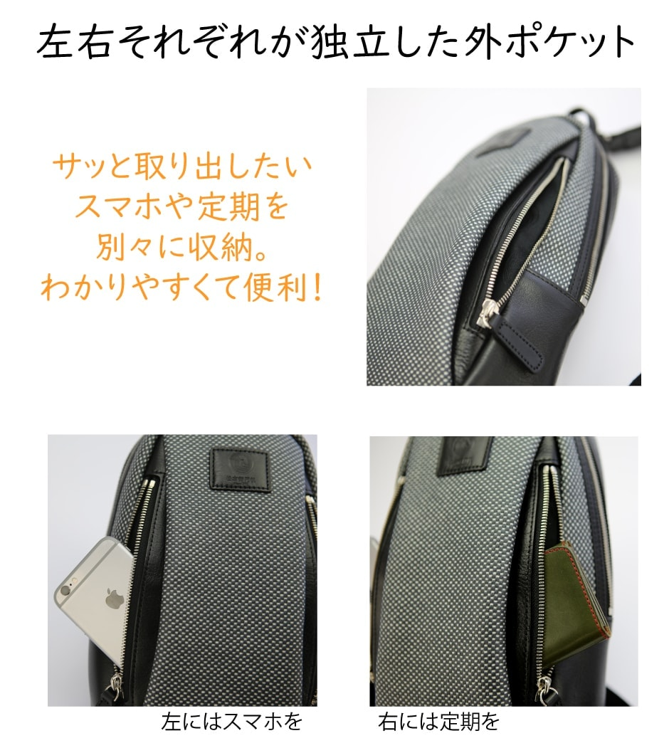 松右衛門帆ボディバッグレオの外ポケットは左右で独立しています。
