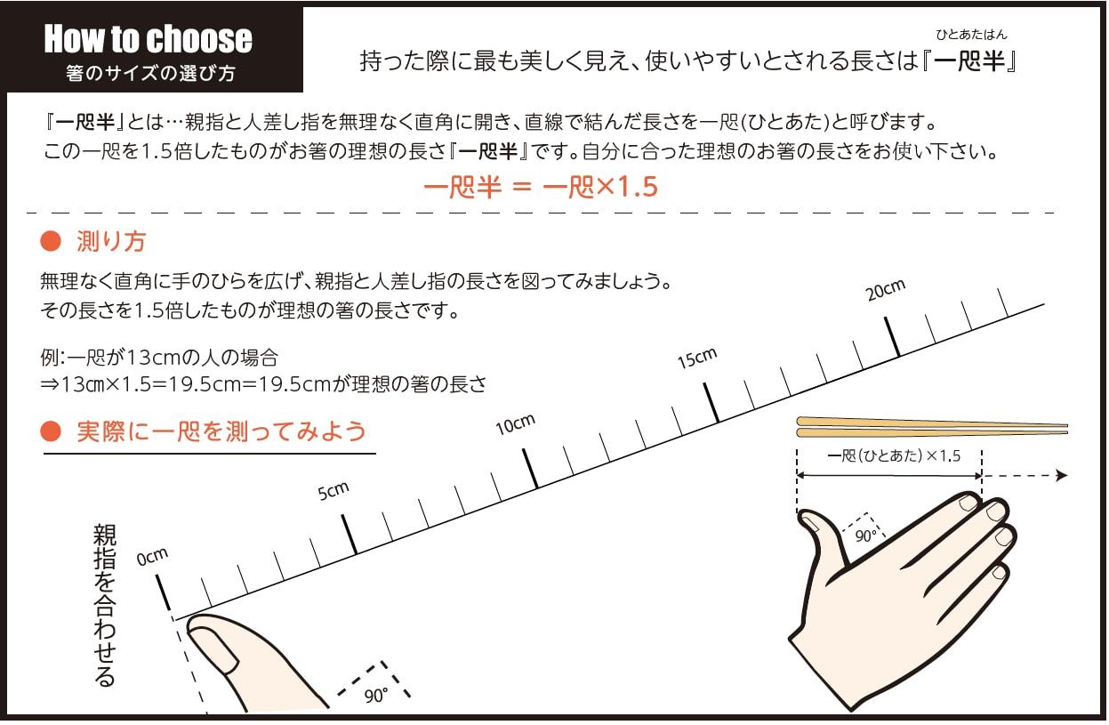 お箸のサイズや長さの選び方、測り方を解説しています