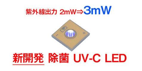 紫外線出力 2mW ⇒ 3mW 新開発 除菌 UV-C LED