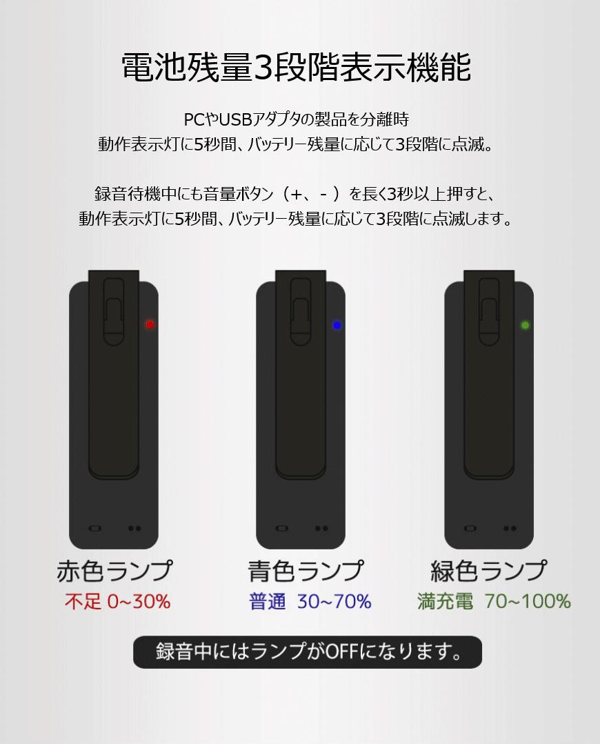 電池残量3段階表示機能