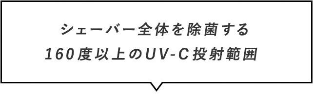 シェーバー全体を除菌する160度以上のUV-C投射範囲