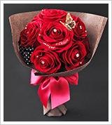 【誕生日・プロポーズ】花束風スペシャルメッセ—ジフラワー赤バラ