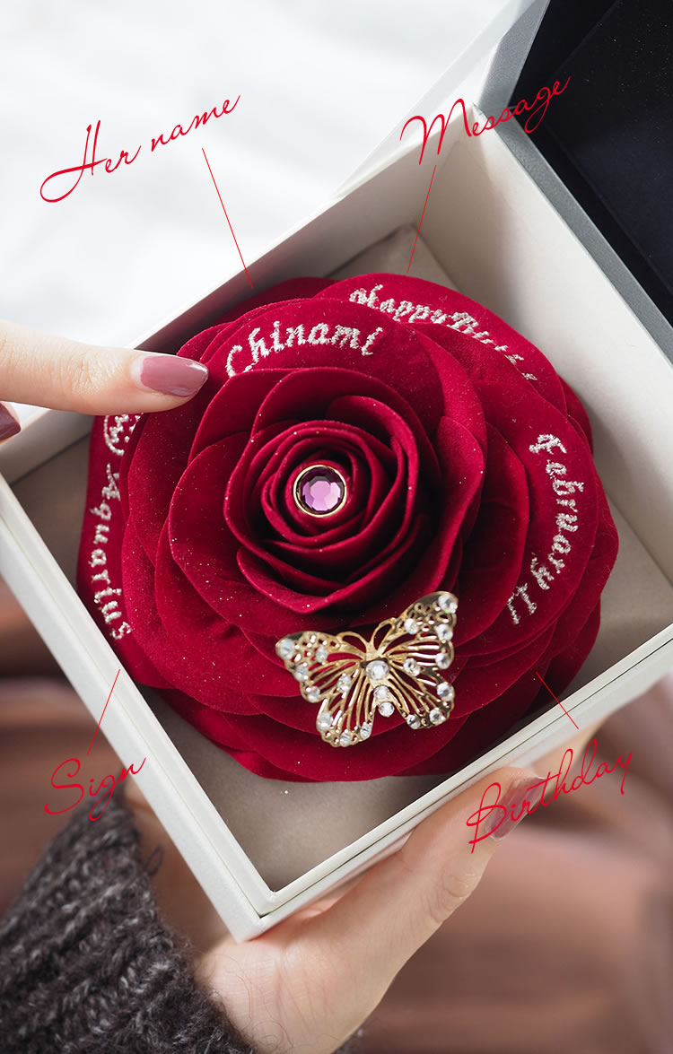 赤バラの花びらには彼女のすべてを刺繍します