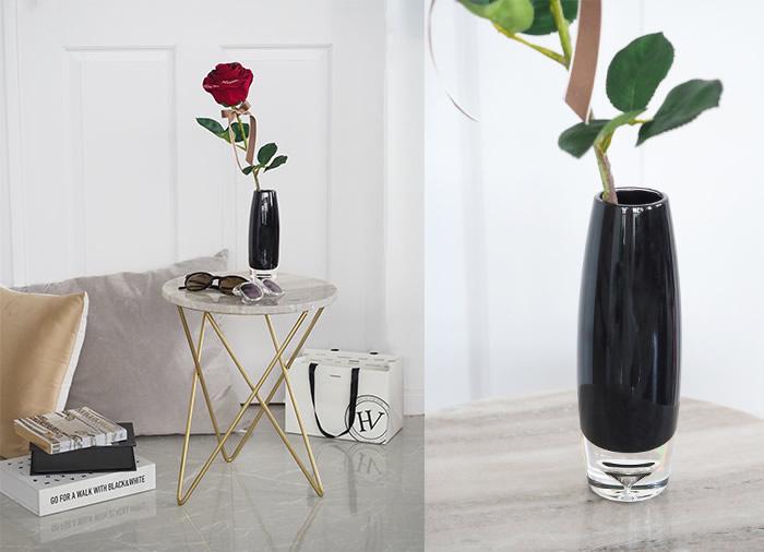 スタイリッシュな黒のポリカーボネート花瓶