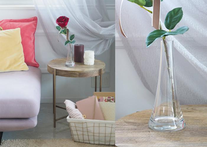 赤バラが映える、クリアガラス花瓶