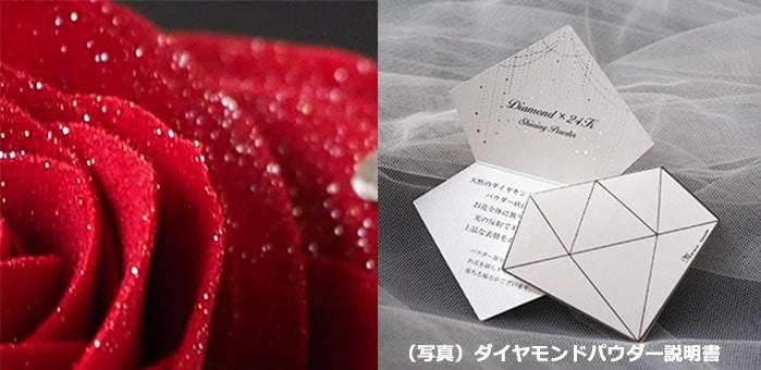 赤バラ全体にちりばめるダイヤモンドパウダー