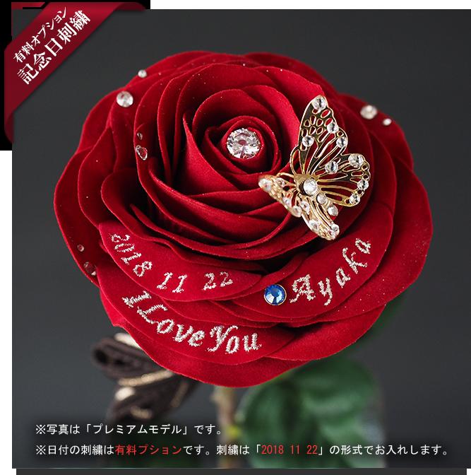 バラ花プレゼント 記念日日付・誕生石のオプション