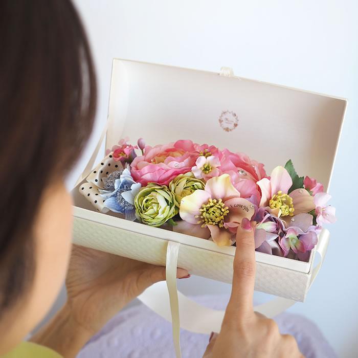 フラワーバッグ メッセージ入りの花束