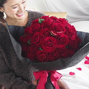 無料特典あり【50本の赤バラ花束】ダイヤモンドローズボックスフラワーTiAmo(ティアモ)