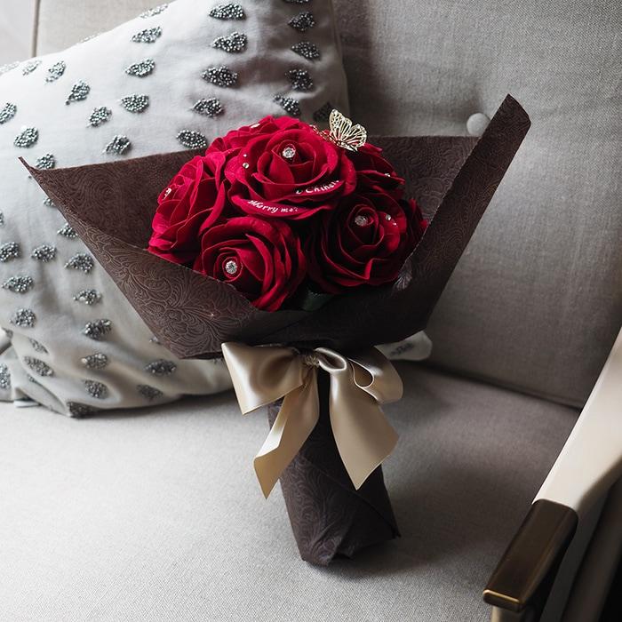 花束風メッセージフラワー 赤バラ