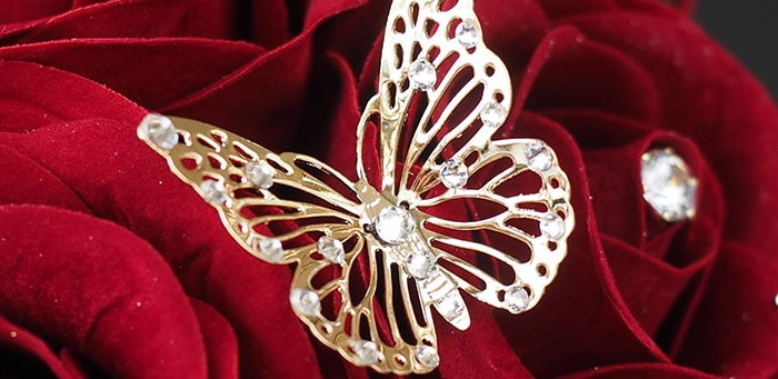 ゴールド蝶々オブジェ