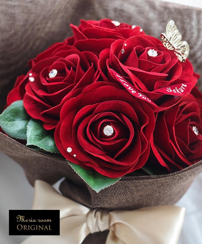 """ベルベット素材の""""枯れない""""赤バラ"""
